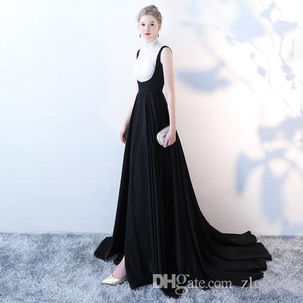 2018 Cheap Long Evening Dresses High Neck Black Whith Sleeveless ...