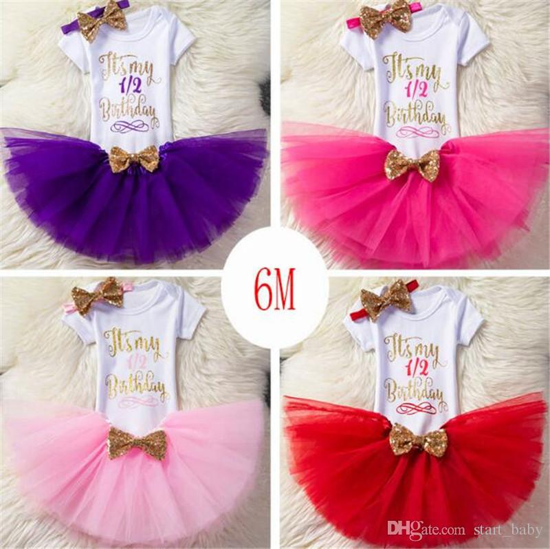 Baby Girls Letter Rompers + TUTU Skirts 2PCS Birthday Sets Infant Toddler Girl Bubble Skirt Princess Dress Baby Summer Cotton Ourfits Ins B1