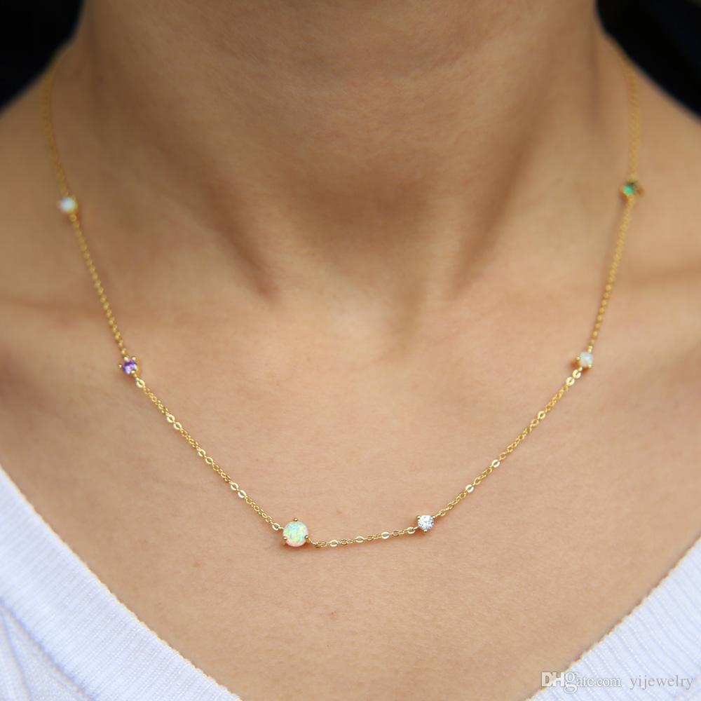 a75df119c Wholesale 2018 Classic Stone Cz Chain Necklace Prong Setting Colored Stone  Cz Opal Elegance Minimal Design 925 Sterling Silver Chain Necklaces Gold  Chains ...
