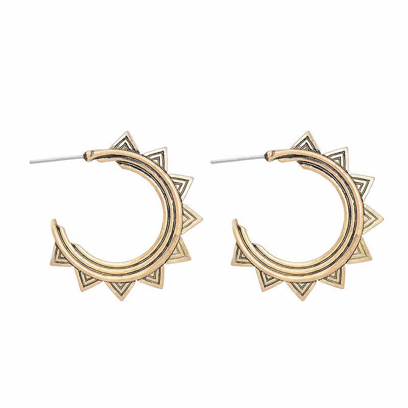 Europe America Retro Simple Hyperbolic C-type Geometric Big Stud Earrings Beautiful Patterns Women Sterling Silver Gold Plated Jewelry