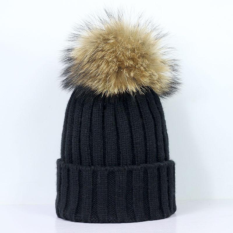 045bcf8b42a LASPERAL Winter Brand Female Ball Cap Pom Poms Winter Hat For Women Girl  S  Hat Knitted Beanies Cap Thick Women Skullies Fur Hats Baby Beanies From ...