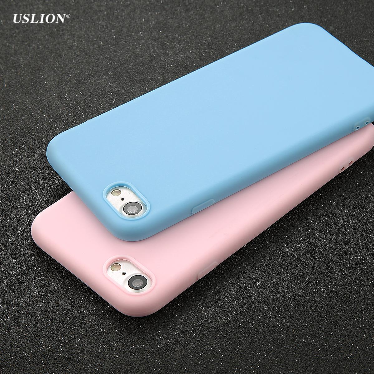 2018USLION Phone Case For IPhone 7 6 6s 8 X Plus 5 5s SE Simple Solid Color Ultrathin  Soft TPU Cases Fashion Candy Color Back Cover Case Fo Simple Solid ... e84e3d6363