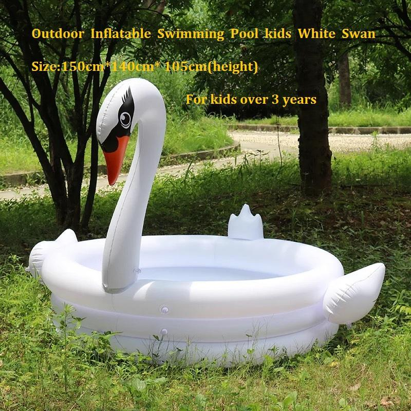 High Quality Outdoor Inflatable Swimming Pool kids White Swan Summer Bathtub Children Inflatable Paddling Pool Family Play