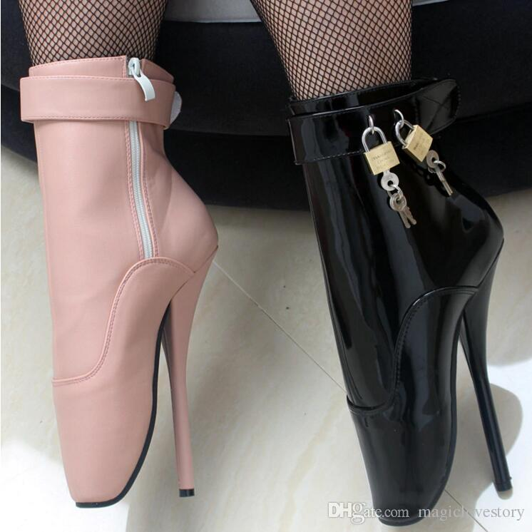 NEW Extreme high 18cm Men Spike Heels padlocks Fashion Fetish Sexy Cosplay  Shoes Pink Pu Leather Lockable Women Ankle Strap Ballet Boots