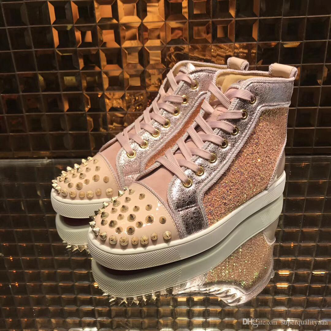 b69b44194c2e ERY288 Spikes High Top Red Bottom Sneakers Pink Glitter Leather ...