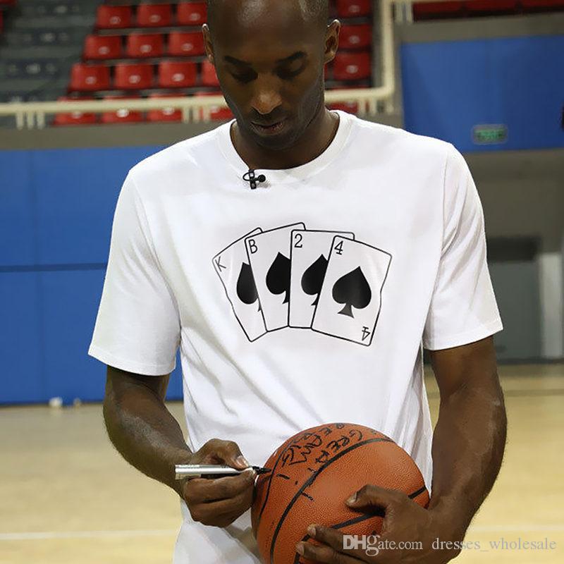 Kobe Bryant KB24 Schürhaken-T-Shirts neue Art- und Weisemänner schließen Hülsen-Oansatz Baumwollt-shirt beiläufiges loses Hip Hop-lustiges Oberseiten-T-Stück kurz