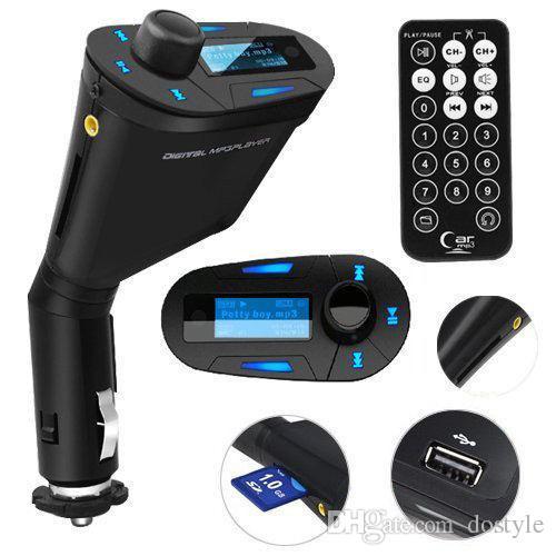 Ventas CALIENTES 3.5 mm Audio Azul LCD Car Kit Coche reproductor de música MP3 Remoto Inalámbrico Transmisor FM Modulador Auto Radio + USB SD MMC