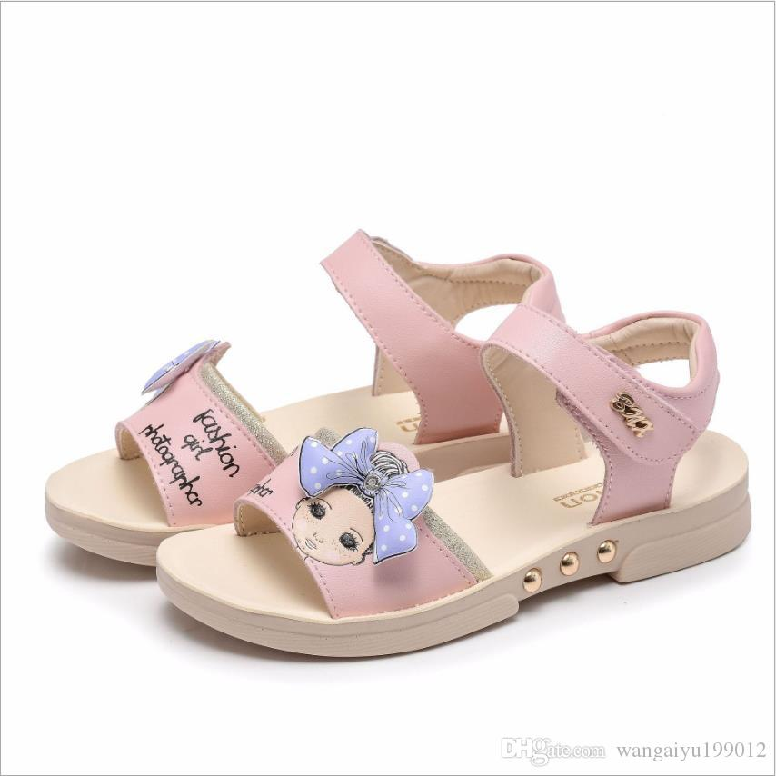 2018 new summer authentic air shoes big children's shoes girls sandals leather Korean baby