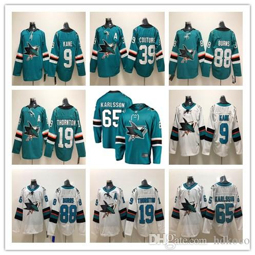 Compre San Jose Sharks Camisetas De Hockey 65 Erik Karlsson Jerseys 19 Joe  Thornton 88 Brent Burns 39 Logan Couture San Jose Sharks 2018 Stanley Cup A  ... 002c96833