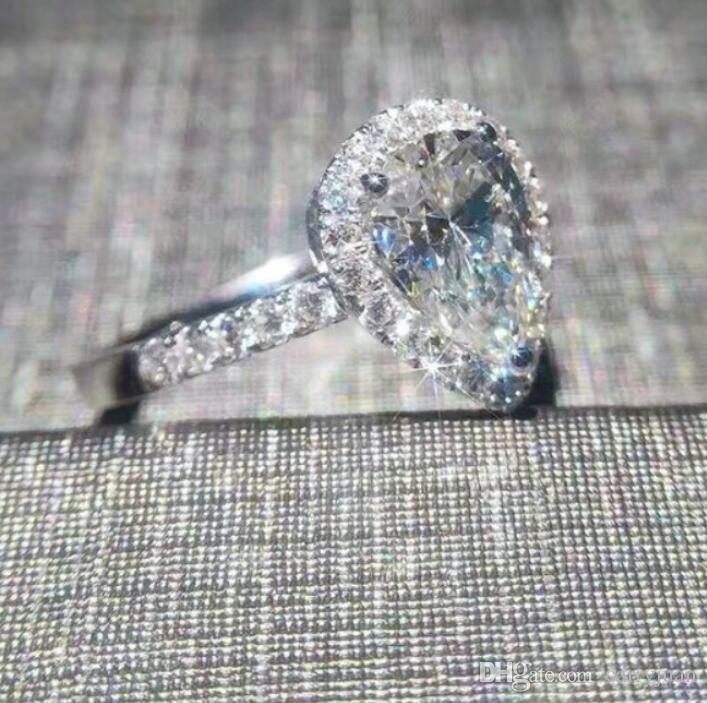Оптовые профессиональные новые поступления роскошные ювелирные изделия 925 стерлингового серебра груши вырезать Белый Топаз CZ Алмаз свадьба сердце группа кольцо для женщин