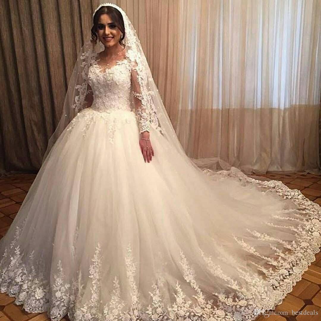2018 Muhteşem Fildişi Balo Gelinlik Sheer Uzun Kollu Dantel Aplike Custom Made Şapel Tren Düğün Gelin Önlükler