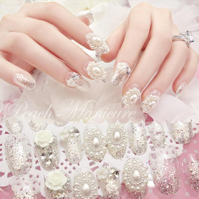 New 24PCS/set 3D flowers pearl rhinestones finished false nails,Silver flash powder design full Nail tips Patch,DIY art tool