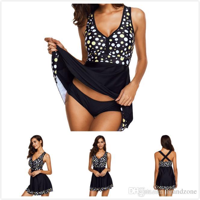 3b4cd23d705 Color Dots Hit Color Vest-style Swimsuit Retro Wave Strap Ladies ...