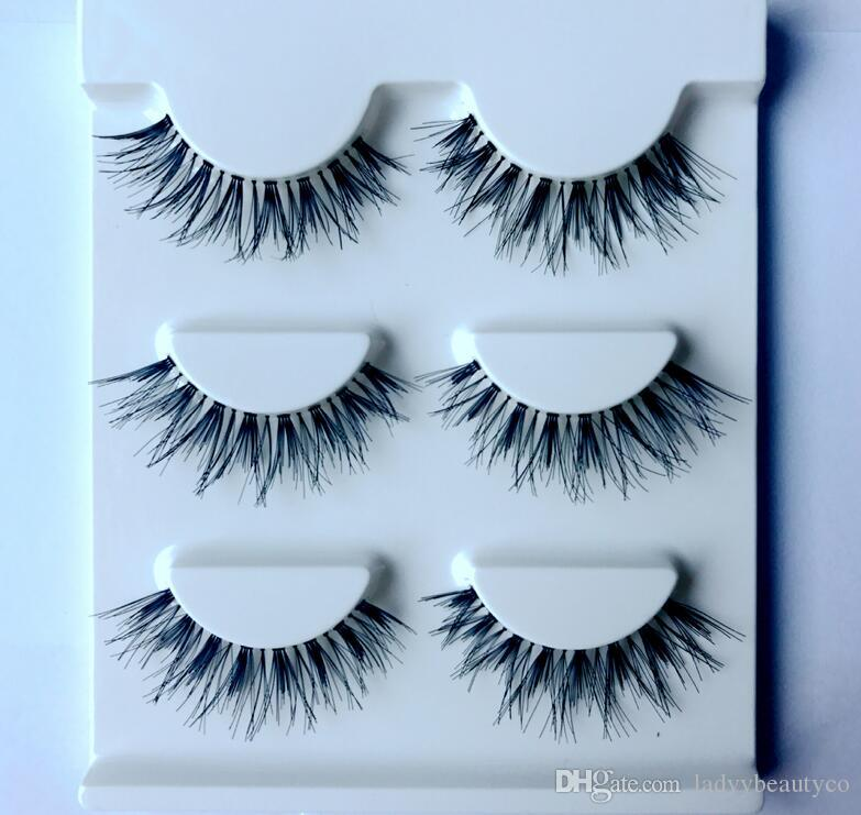 wsp-Human Hair Thick Long False Eyelash Brand Fashion Lash Makeup Handmade Soft Human Hair Black Long Cross Thick Curl False Eyelashes