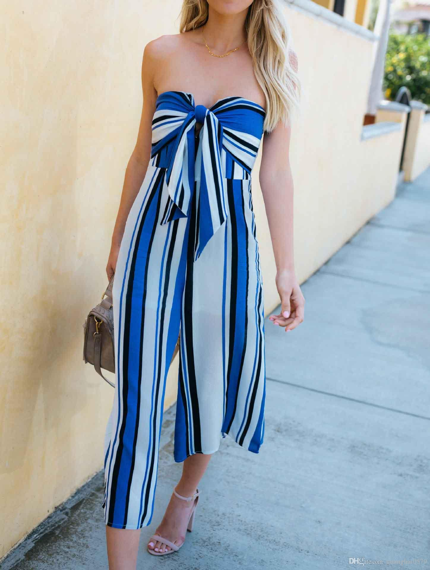 2018 women and girls fashion new strapless style jumpsuits,Bow nice,striped printing,contrast colours,loose pants