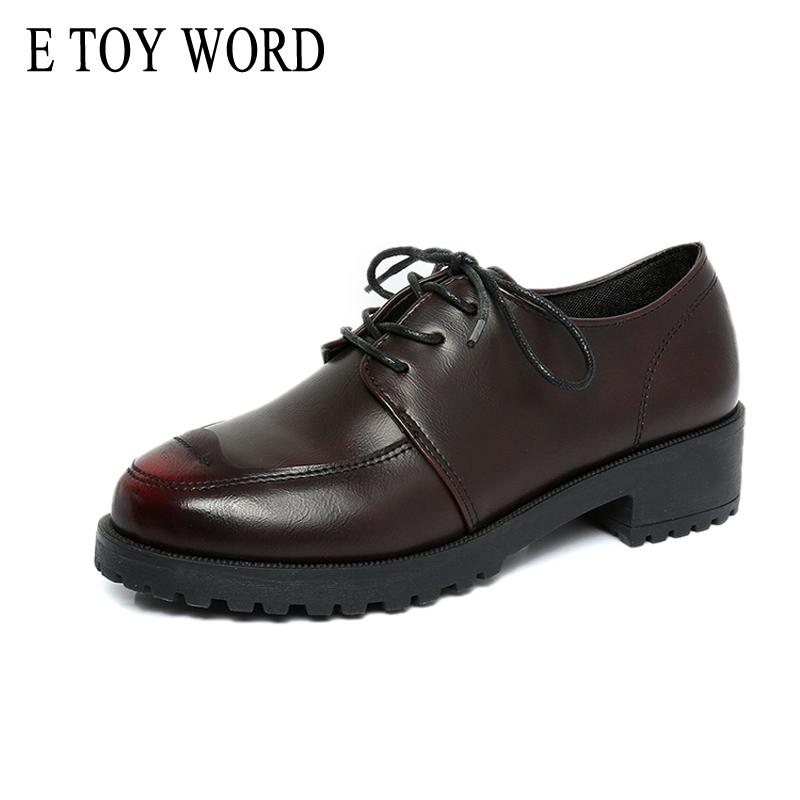 c1cd2f570d0 E TOY WORD Patent Leather Shoes Women Lace Up Platform Oxfords Women S  Shoes British Style Creepers Flat Casual Online Clothes Shopping Designer  Shoes From ...