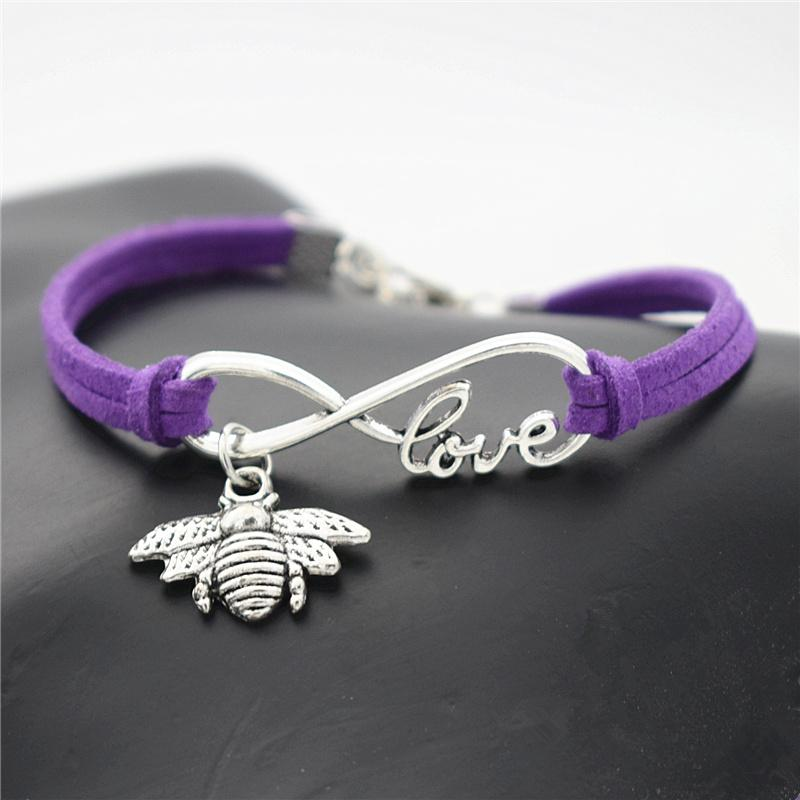 AFSHOR Fashion Antique Silver Insect Cute Honeybee Bee Charm Pendant Infinity Love Gifts Leather Suede Bracelet for Women Men Unique Jewelry