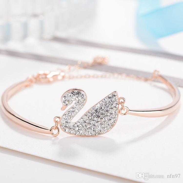 S925 Sterling Silber Schwan Armband Armband Platin Rose Gold schrittweise weißen Diamanten schwarzen Schwan Armband Hersteller Schmuck Großhandel