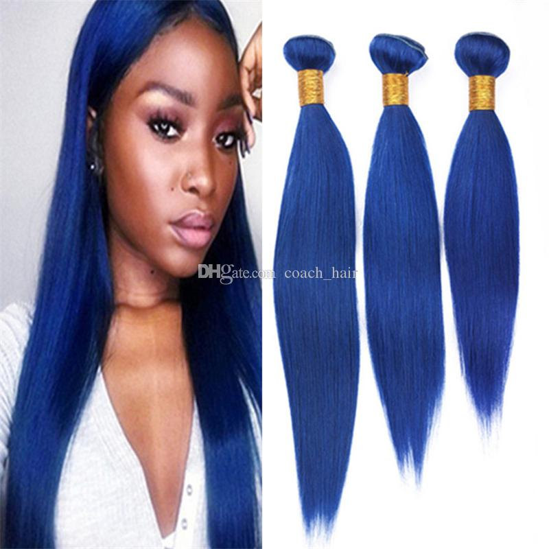 Pure Colored Blue Indian Human Hair Weave 3 Bundles Deals Silky