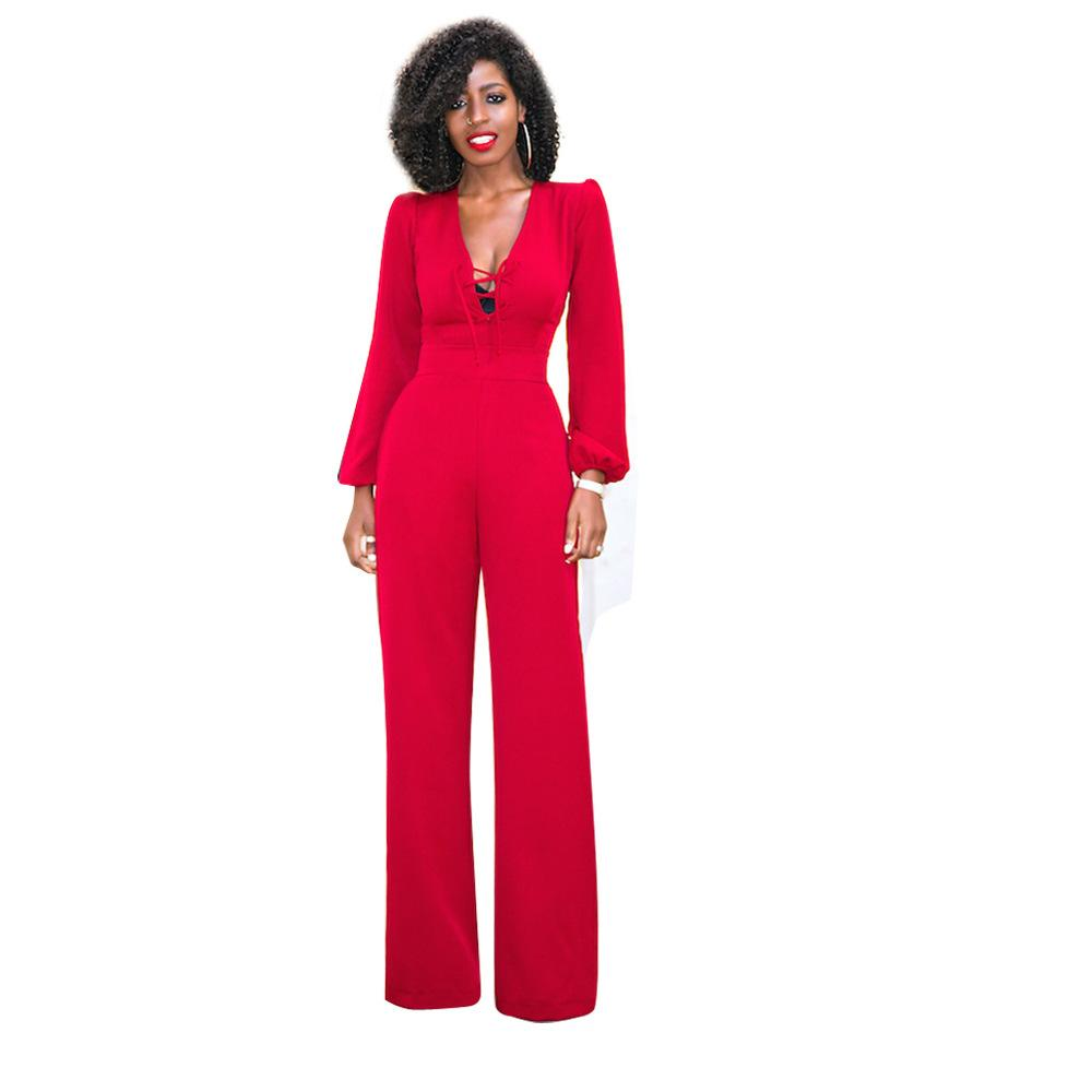 Großhandel Lace Up Wide Leg Jumpsuit Damen Langarm Lose Rote Einteilige  Overalls Elegante Formale Overalls Lange Hosen Strampler 2017 Outfits Von  Wangleme0, ... 2406e864bf