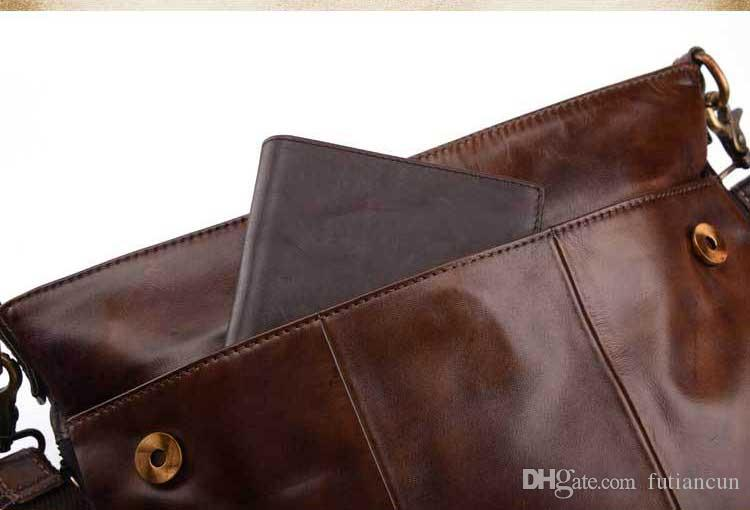 The first layer of wax cowhide leather business men shoulder bag messenger bag briefcase retro large capacity