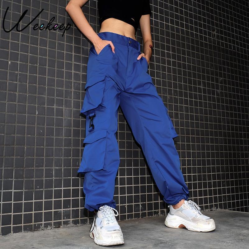 873c6eb985 Compre Weekeep Mujeres De Cintura Alta Pantalones Cargo Azul Moda Bolsillos  Sueltos Pantalones Para Mujer Streetwear Patchwork Lápiz Pantalones De  Chándal ...