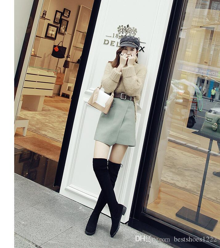 3c3d38ed375 Thigh High Boots Female Winter Boots Women Over The Knee Boots Flat Stretch  Sexy Fashion Shoes Black Grey New Riding Mens Dress Boots Green Boots From  ...