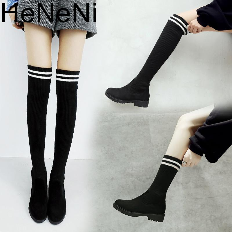 Martin Socks Boots Women Over The Knee High Boots Autumn Winter Knitted  Shoes Long Thigh High Elastic Slim Size33 43 Western Boots Shoe Shops From  Clownie ef25589c8d0c