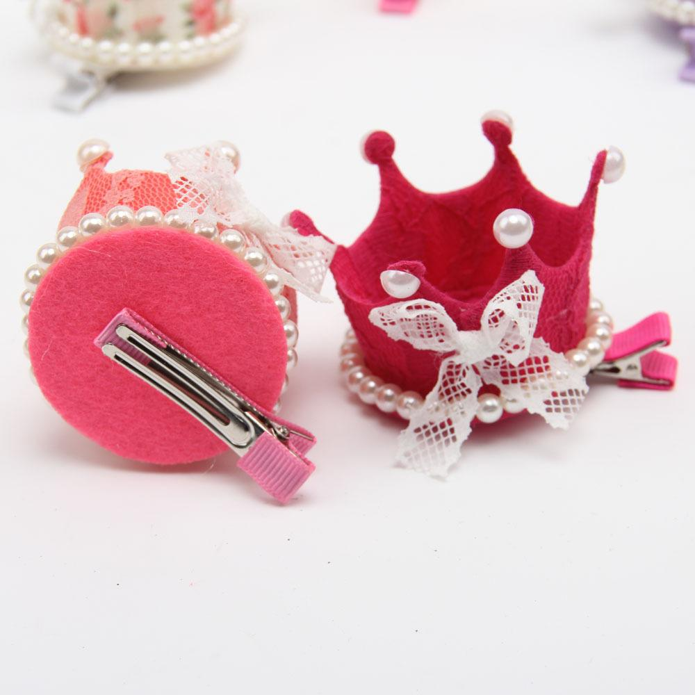Lace Princesa Coroa Chapéus de Festa Meninas Bonito Doce Aniversário Headband Do Chuveiro Do Bebê Cap Decorativa Imitação de Pérolas Arco de Cabelo Pin