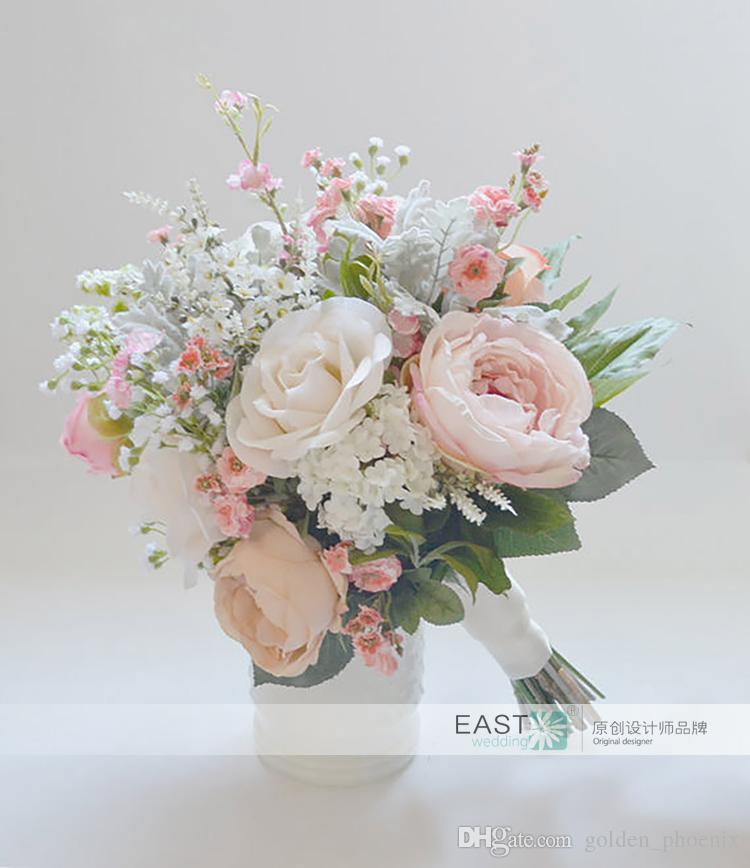New custom bridal bouquet Sen style wedding pink ivory aesthetic photography Floral holding flowers