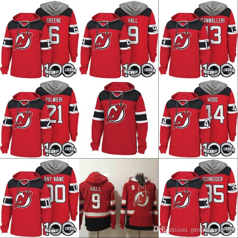 best service 10f58 5aafe New Jersey Devils Hoodies 100th Patch 6 Andy Greene 9 Taylor Hall 13  Michael Cammalleri 21 Kyle Palmieri 35 Cory Schneider 44 Miles Wood