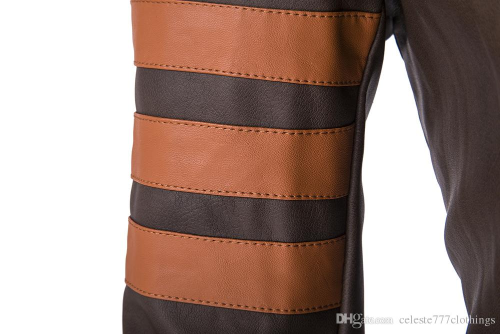 Casaco de couro do homem real Casacos Slim Fit motocicleta Casacos GOLINHO Masculino PU Casacos de Couro Falso Impermeável Outwear