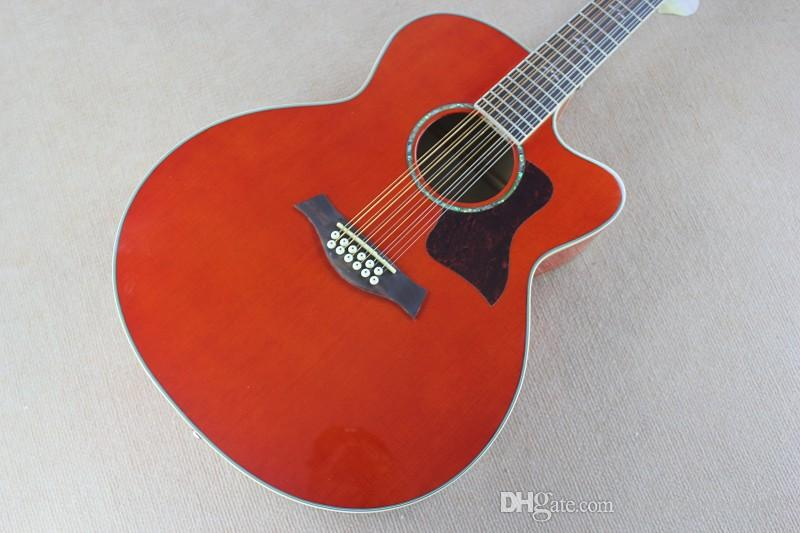 HOT Wholesale Spruce Solid 12 Strings Taylor orange red Acoustic Electric Guitar
