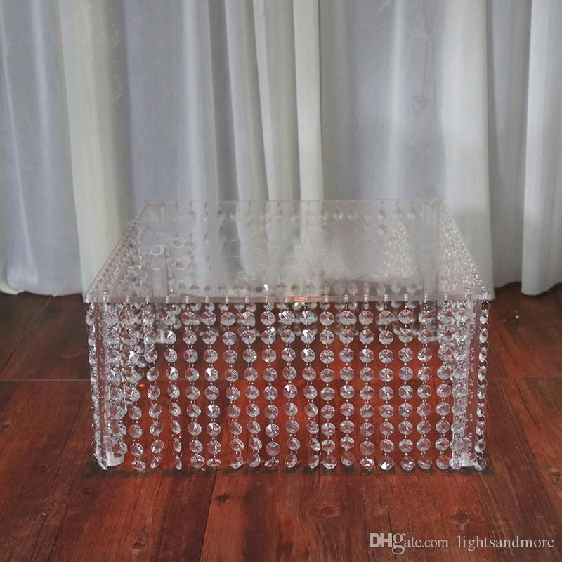 3 sizes square clear acrylic crystal garland cake stand crystal beads chandelier table centerpieces for wedding even party decor