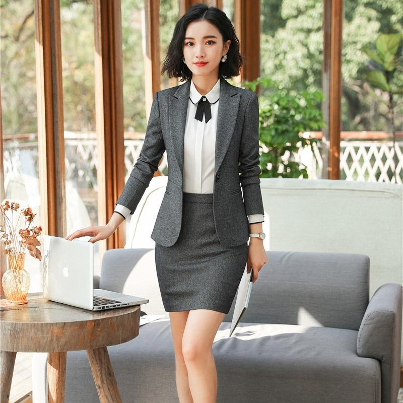 f2f81684c EleGray Formal Uniformes Blazers profesionales trajes con chaquetas y falda  para mujeres Ropa de trabajo de oficina Conjuntos de Blazers