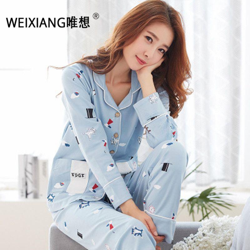 c6f11d341b 2019 WEIXIANG Women Winter Pajama Set Soft Printing Pijama Home Pyjamas  Woman Cotton Pyjama Set Sleepwear Plus Size Pajamas For Women From Lvyou09