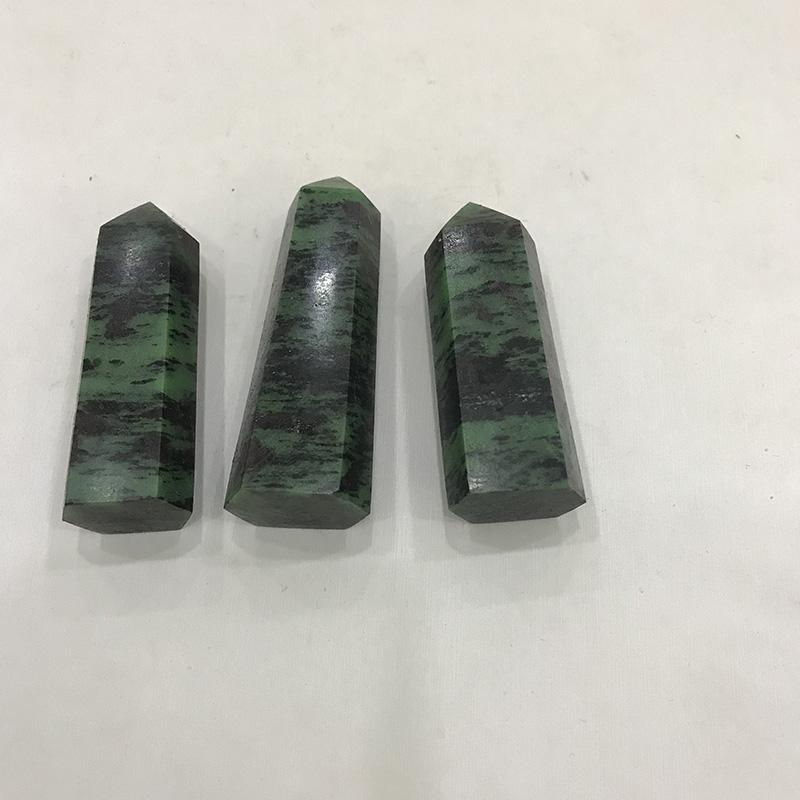 Natural Ruby Epidote column original tumbled stone Crystal Quartz wand point crafts Red and Green treasure hexagonal prisms unicuspid