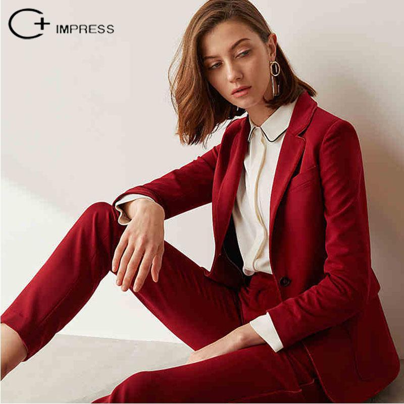2018 C Impress Women Suits Formal Custome Burgundy Jacket Bottoms