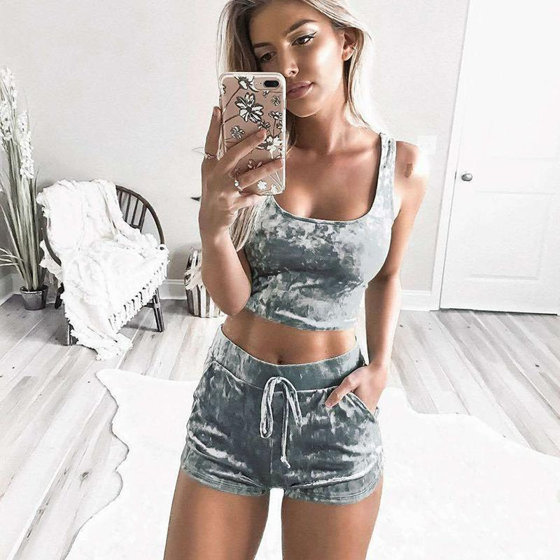 46aa0ec3e9 2019 Velvet Sexy Set Women Gray Cami Crop Top With Shorts Set 2019 Summer  Slim Casual Crushed Co Ord Two Piece Set From Feeling09, $27.57 | DHgate.Com