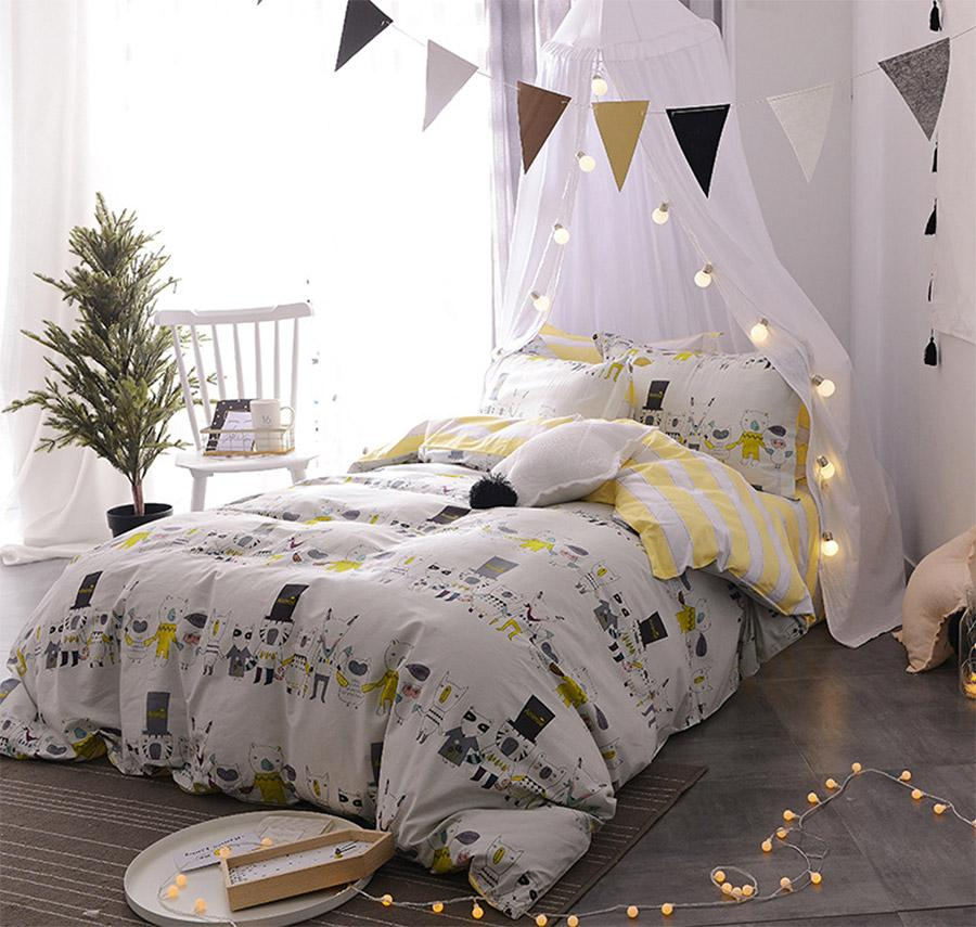 Cute Character Animal Single Double Bedding Set Teen Child,Cotton Twin Full  Queen Bedclothes Bed Sheet Pillow Case Quilt Cover Comforter Sets Bedspreads  ...