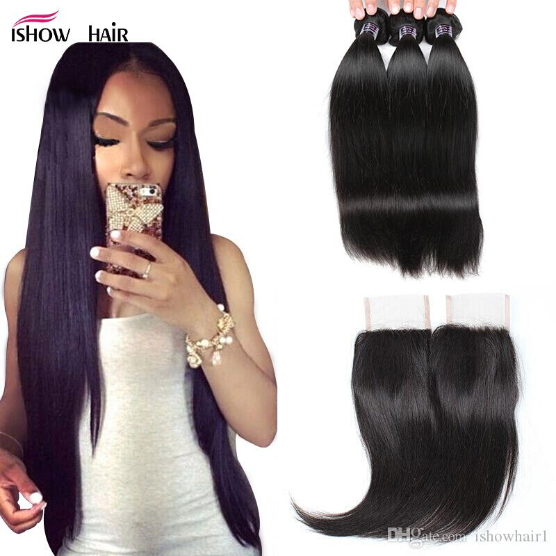 "8-28""Brazilian Body Wave Virgin Hair Extensions Wholesale 3/4Bundles With 4x4 Lace Closure Straight Peruvian Human Hair Bundles With Closure"