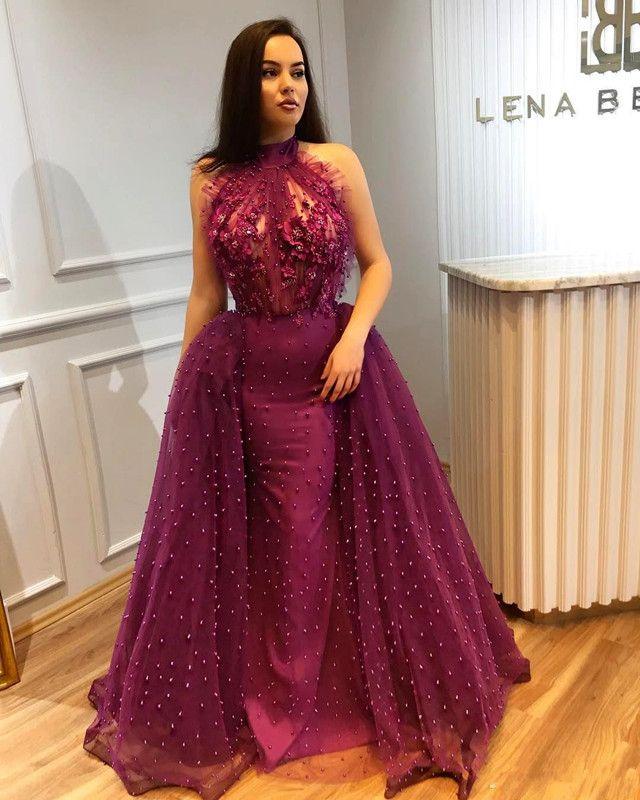 Dark Purple halter escote sirena vestidos de baile largo abalorios Overskirts vestidos de noche plisado atractivo Backless Party cóctel vestido