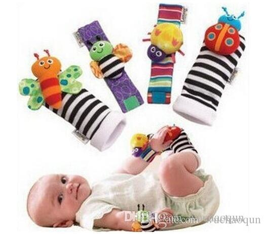 2018 hot sell New arrival sozzy Wrist rattle & foot finder Baby toys Baby Rattle Socks Lamaze Plush Wrist Rattle+Foot baby toy 1set=4pcs