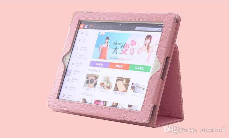 Folio Litchi Virar PU couro Stand Case Smart Cover para iPad 234 Air 5/6 Mini 1234 Novos ipad 10,2 polegadas 7ª Gen 2019 2017 2018