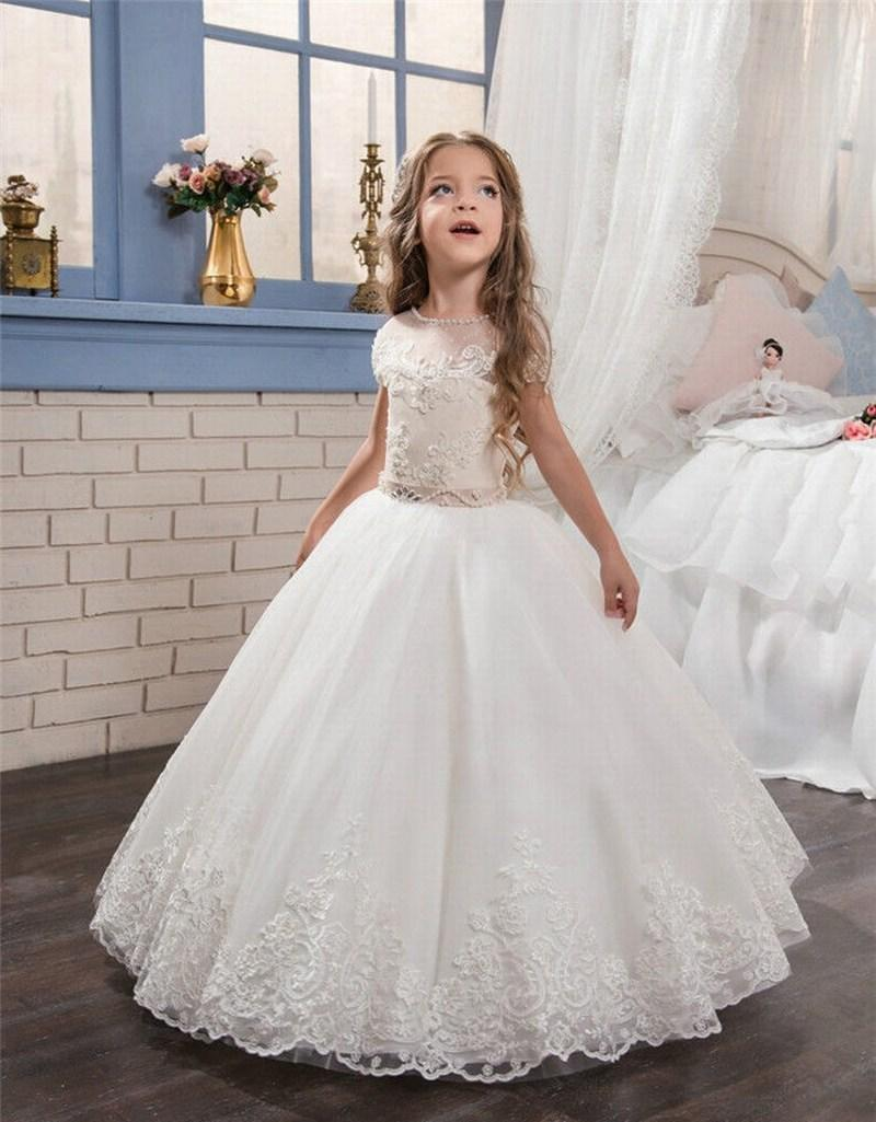 Fancy Lace Applique Tulle Formal Flower Girl Dresses For Wedding Bridesmaid Pageant Birthday Princess Gown 17flgb117