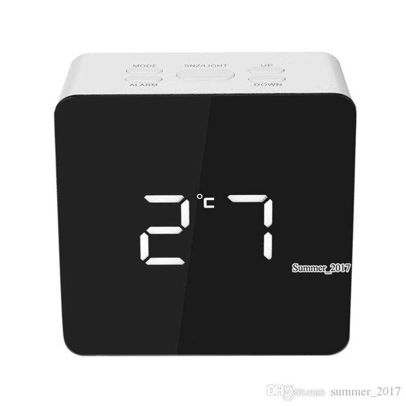 2018 TS-S70 Multifunctional Digital LED Alarm Clock With Temperature Snooze Square Shape Mirror Clock 2 Light Luminescence Level