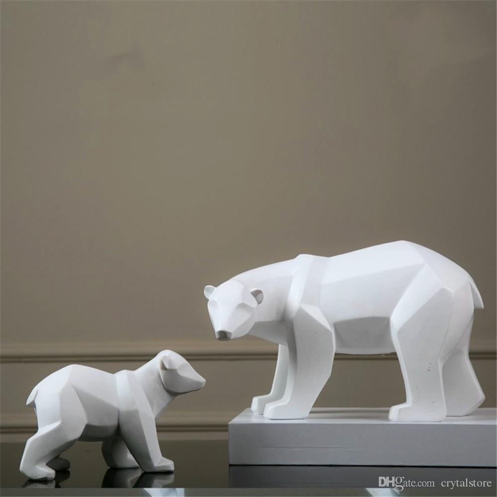 Stupendous Resin Abstract White Polar Bear Sculpture Figurine Handicraft Home Desk Decor Geometric Resin Wildlife Bear Statue Craft Download Free Architecture Designs Scobabritishbridgeorg