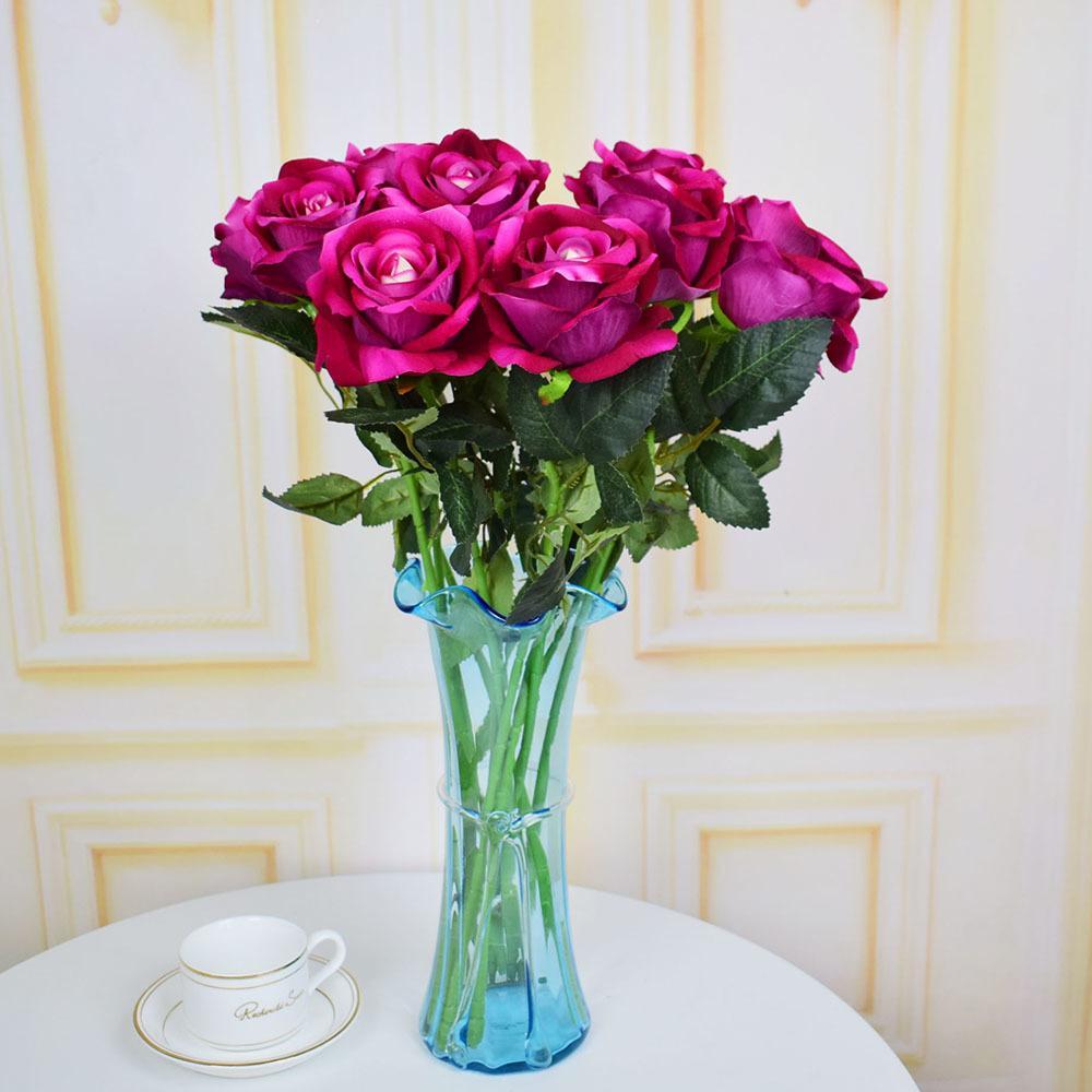 Grosshandel Samt Rosen Kunstliche Blumen Fur Haus Hochzeit