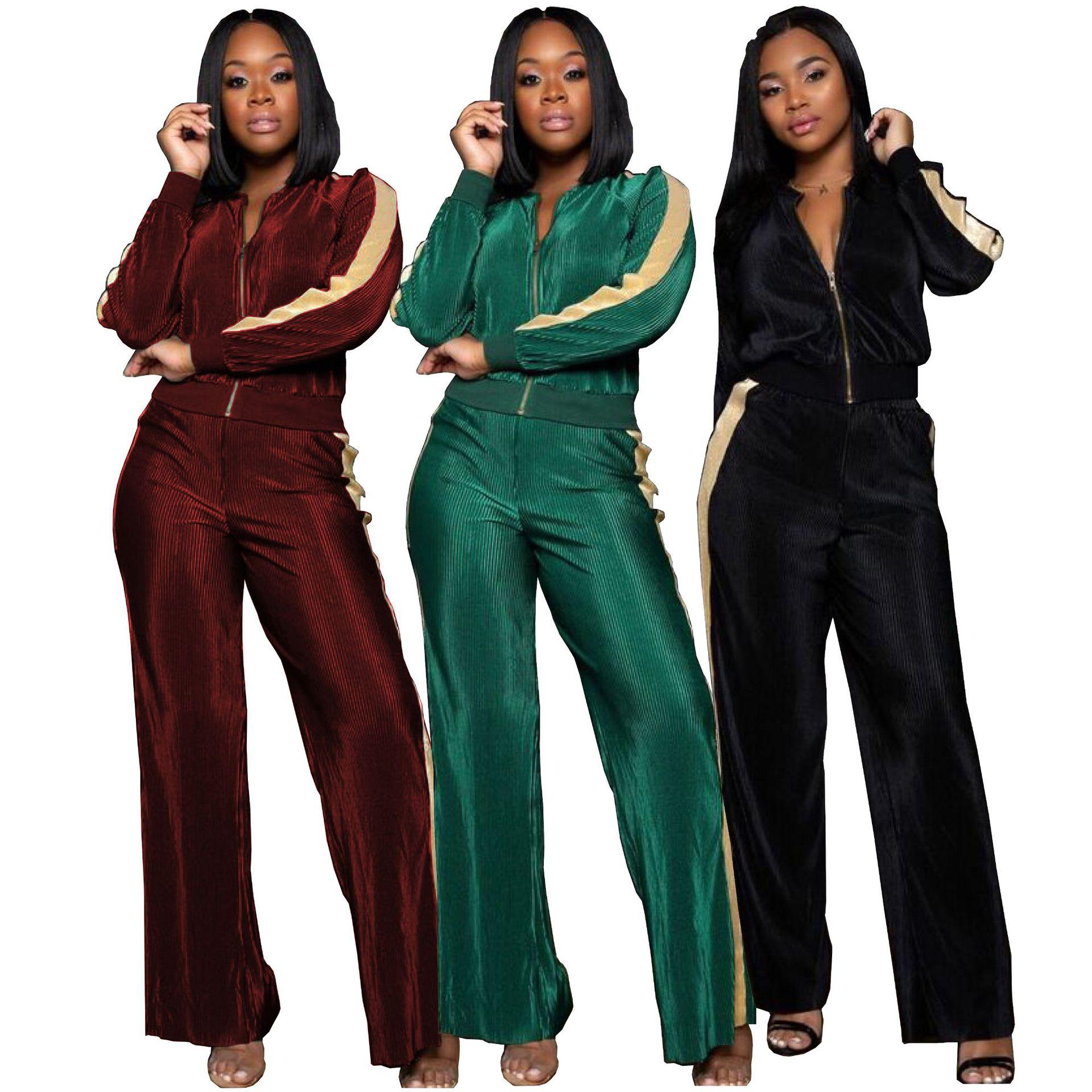 f3eb8671e16 2019 Velvet Set 2018 Winter Women Warm Tracksuits Zipper Neck Striped  Active Outfits Wide Leg Outdoor Sports Pants Suits Jog Track Suit From  Hengytrade