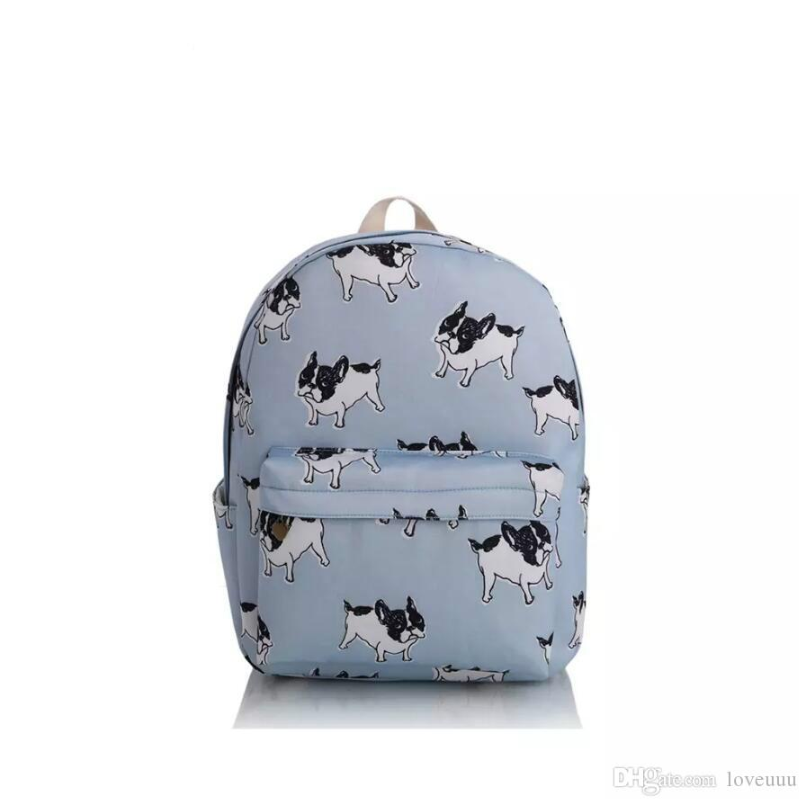 Canvas French Bulldog Backpack HOT Girl Boston Terriers Dogs Animal  Printing Striped Cartoon Book Travel School Bags Backpack Toddler Backpacks  Mens ... e5858d7ea016a